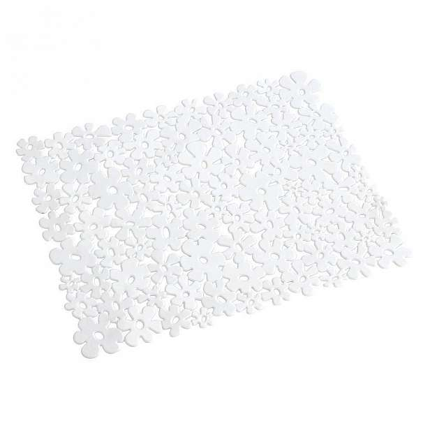 Bílá podložka do dřezu Wenko Sink Mat Flower, 31x26cm