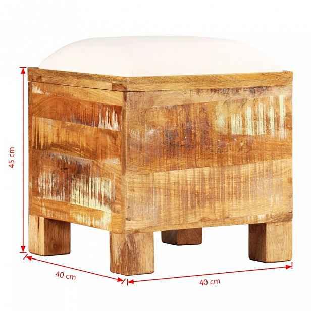 Úložná lavice hnědá / krémová 40 cm