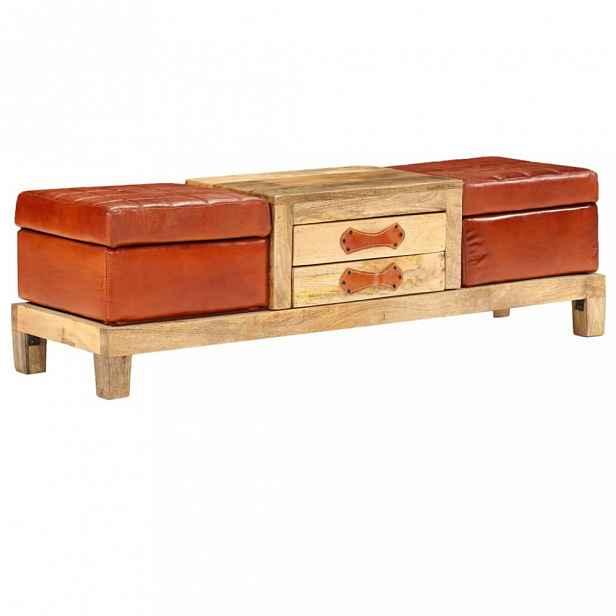 Úložná lavice pravá kůže / mangovník