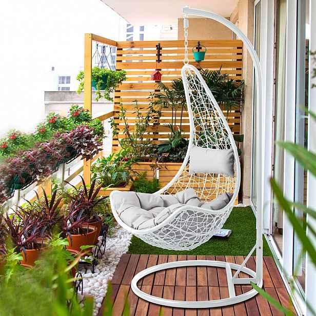 Zahradní závěsné křeslo Bagio, bílé/šedá látka