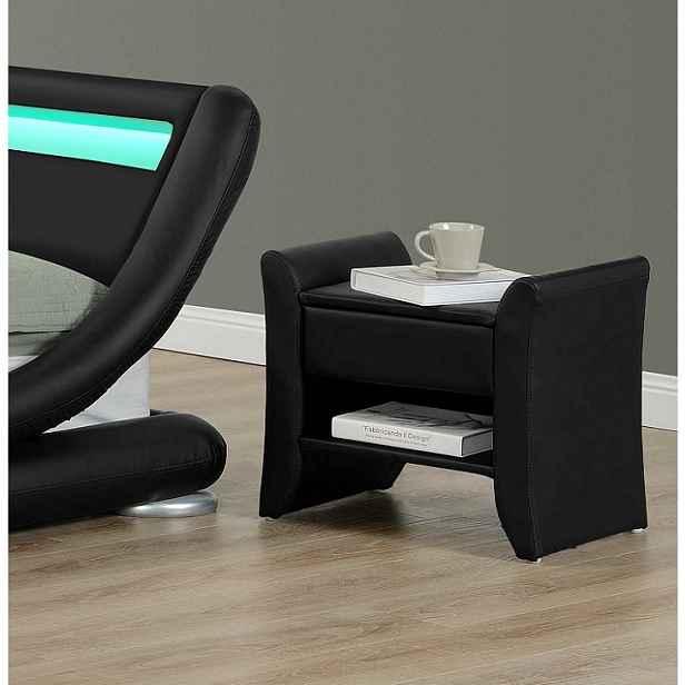 Noční stolek, černá ekokůže, BOLTON 0000191858 Tempo Kondela