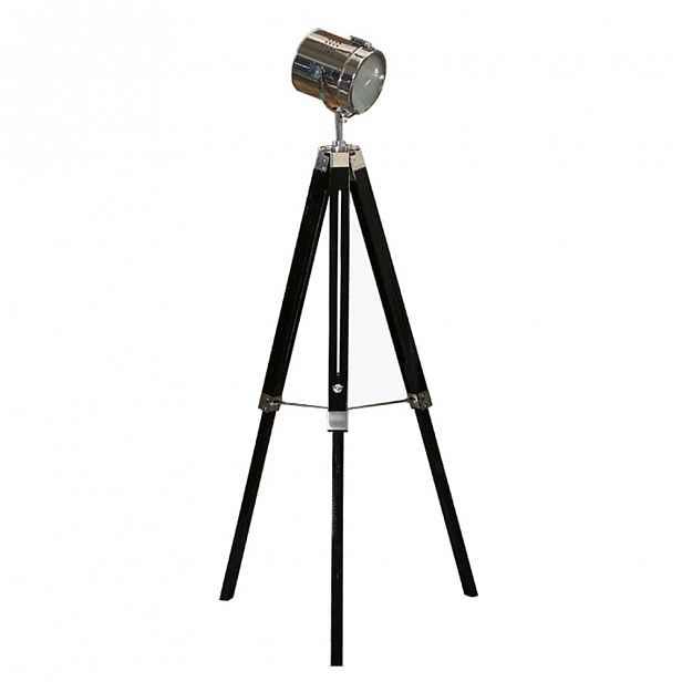 Stojací lampa, černé dřevo / kov, CINDA TYP 26 0000191743 Tempo Kondela