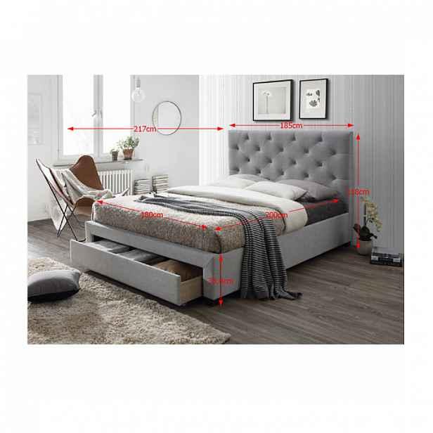 Manželská postel SANTOLA šedá / wenge Tempo Kondela 180 x 200 cm