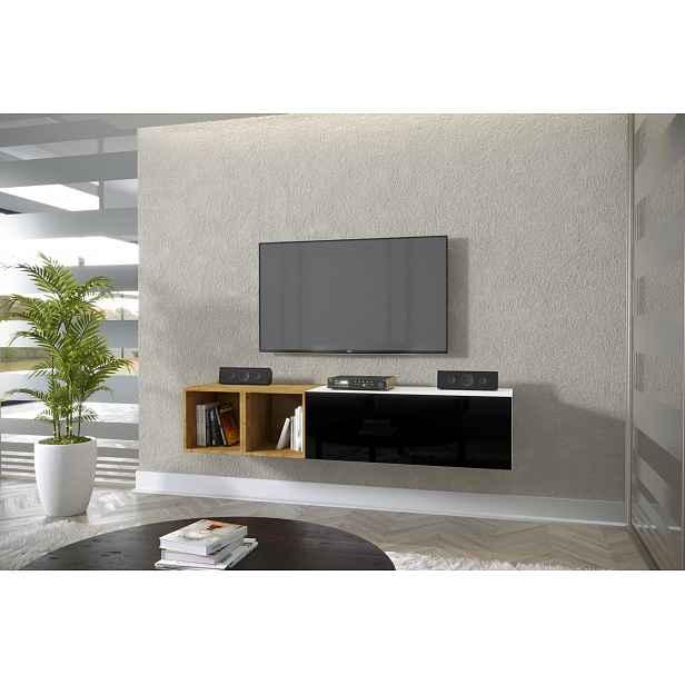 TV stolek Premio R 168cm, bílá/černý lesk HELCEL