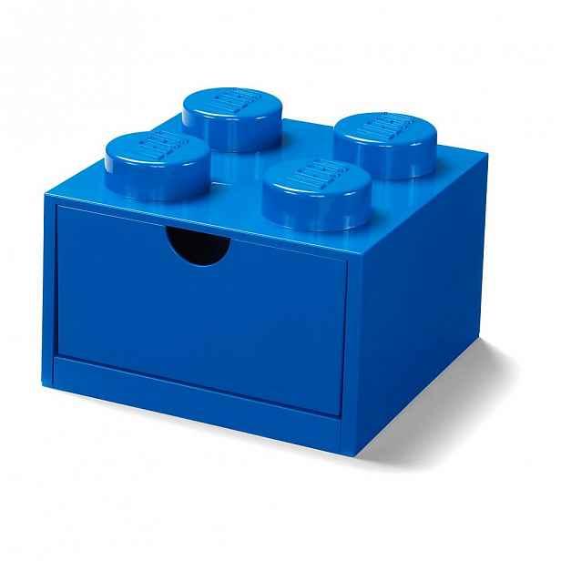 Modrý stolní box se zásuvkou LEGO®, 15x16cm
