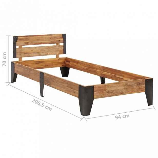 Postel masivní dřevo / kov Dekorhome 90 x 200 cm