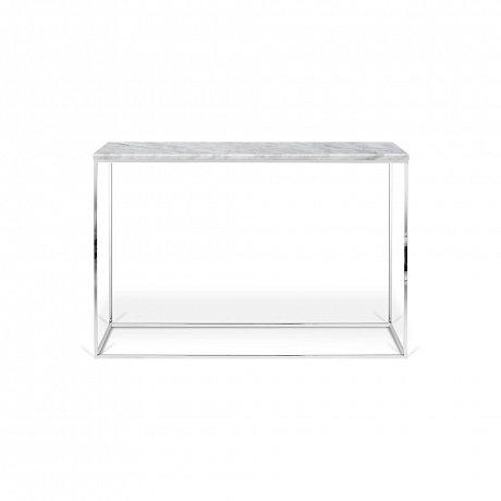 Bílý konzolový stolek s mramorovou deskou TemaHome