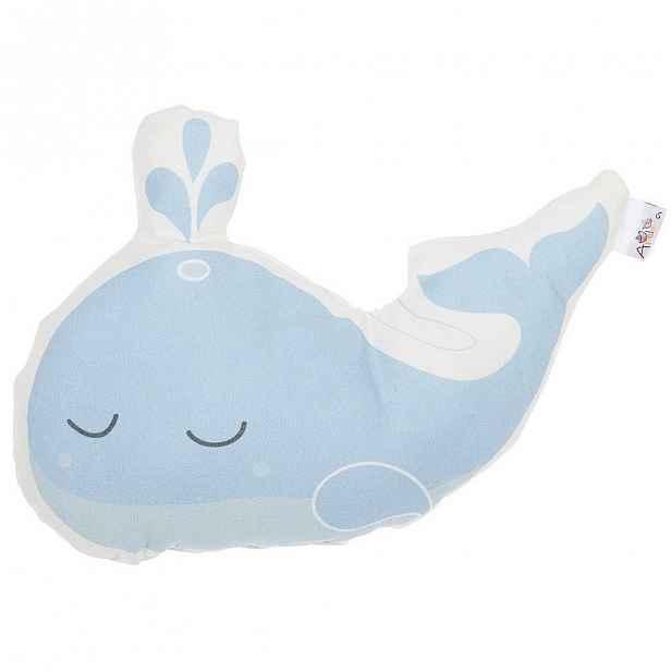 Modrý dětský polštářek s příměsí bavlny Apolena Pillow Toy Whale, 35 x 24 cm