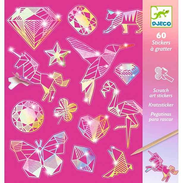 Sada 4 vyškrabávacích obrázků Djeco Rainbow Ornaments