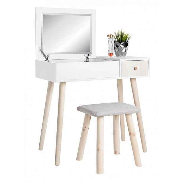Toaletní stolek s taburetem bílá / dřevo