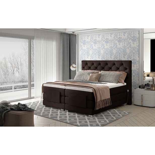 Box spring postel Clif 180x200, hnědá, elektrické polohování HELCEL