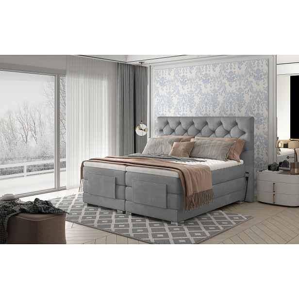 Box spring postel Clif 180x200, šedá, elektrické polohování HELCEL