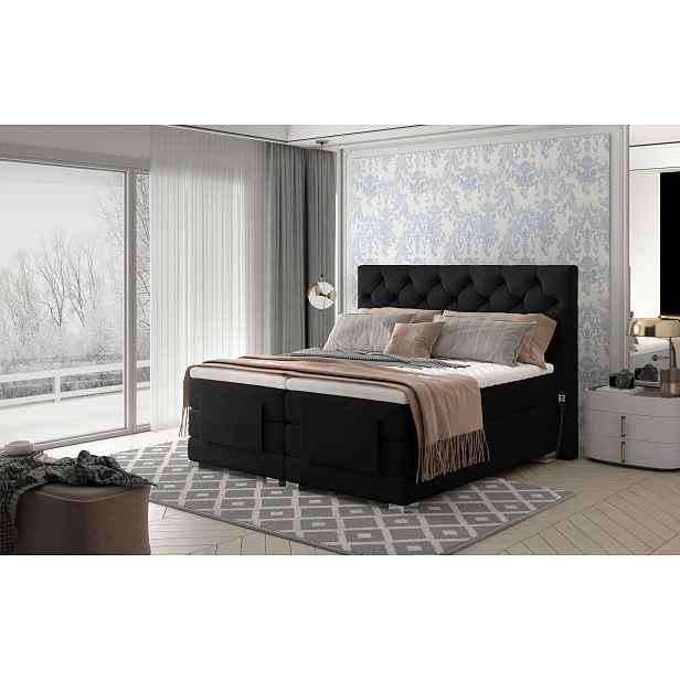 Box spring postel Clif 180x200, černá, elektrické polohování HELCEL