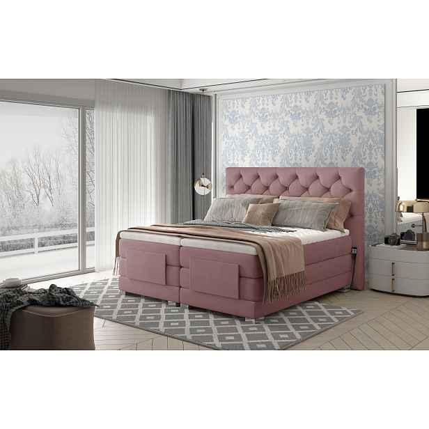 Box spring postel Clif 180x200, růžová, elektrické polohování HELCEL