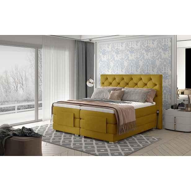 Box spring postel Clif 180x200, žlutá, elektrické polohování HELCEL