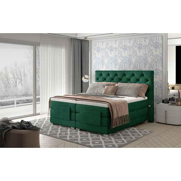 Box spring postel Clif 180x200, zelená, elektrické polohování HELCEL