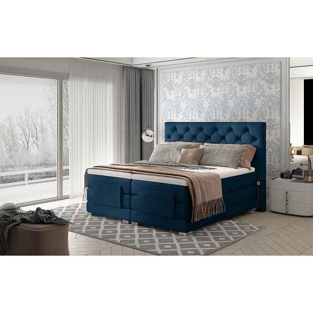 Box spring postel Clif 180x200, modrá, elektrické polohování HELCEL