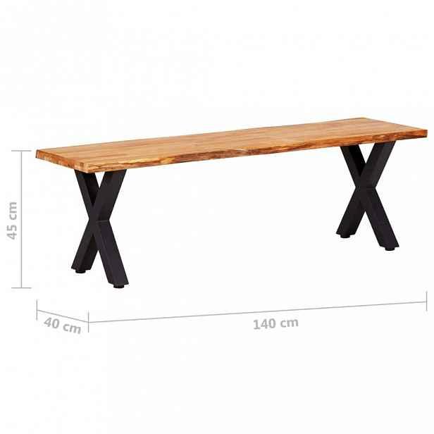 Lavice dubové dřevo / černá 140 cm