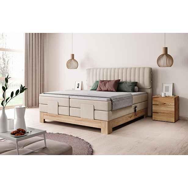 Luxusní box spring postel Elite 180x200 s výběrem potahu! WSL: Potah Žinilka Soro 21 krémová HELCEL
