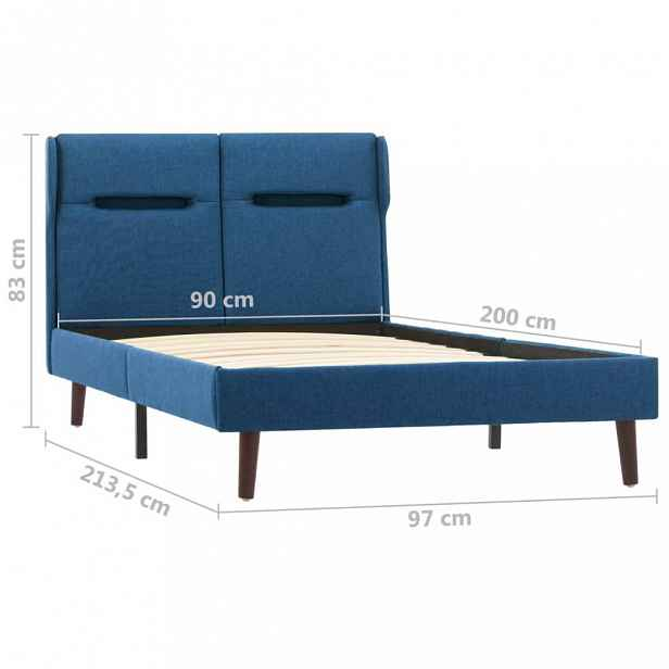 Postel s LED světlem modrý textil Dekorhome 90x200 cm